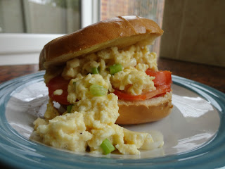 Scrambled Egg and Spring Onion Bagel