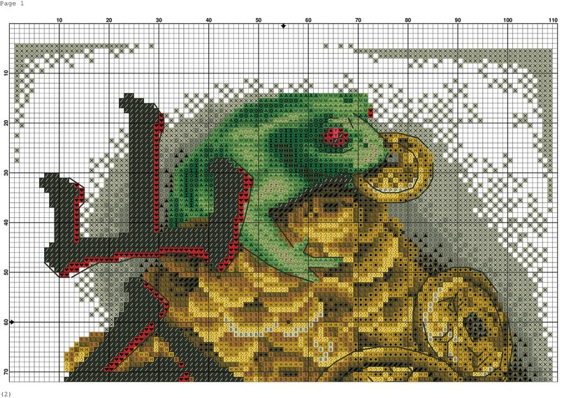 Схемы вышивки крестиком лягушки и жабы 32
