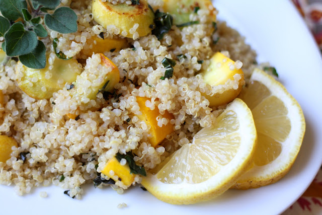 Lemon Herb Quinoa with Summer Squash recipe by Barefeet In The Kitchen