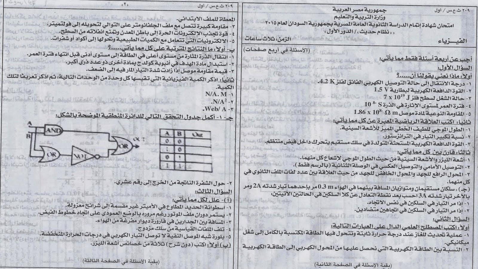 نموذج الوزارة الرسمى أسئلة واجابة امتحان فيزياء السودان2015 نظام حديث Www.modars1.com_1234567891