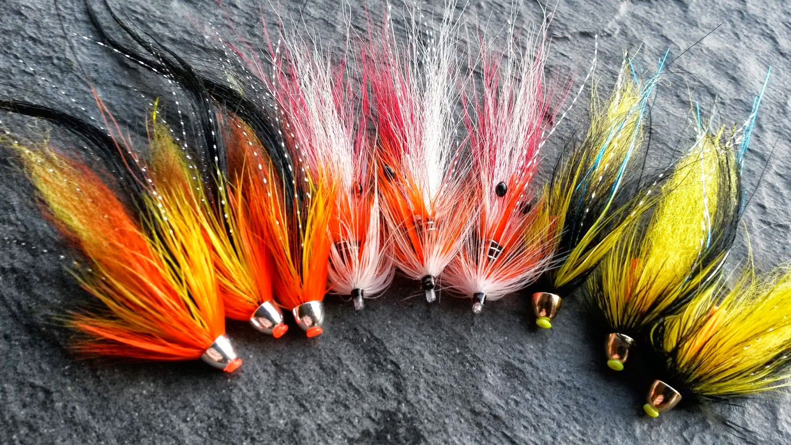 3 x black and yellow conehead salmon flies brass or tungsten cone