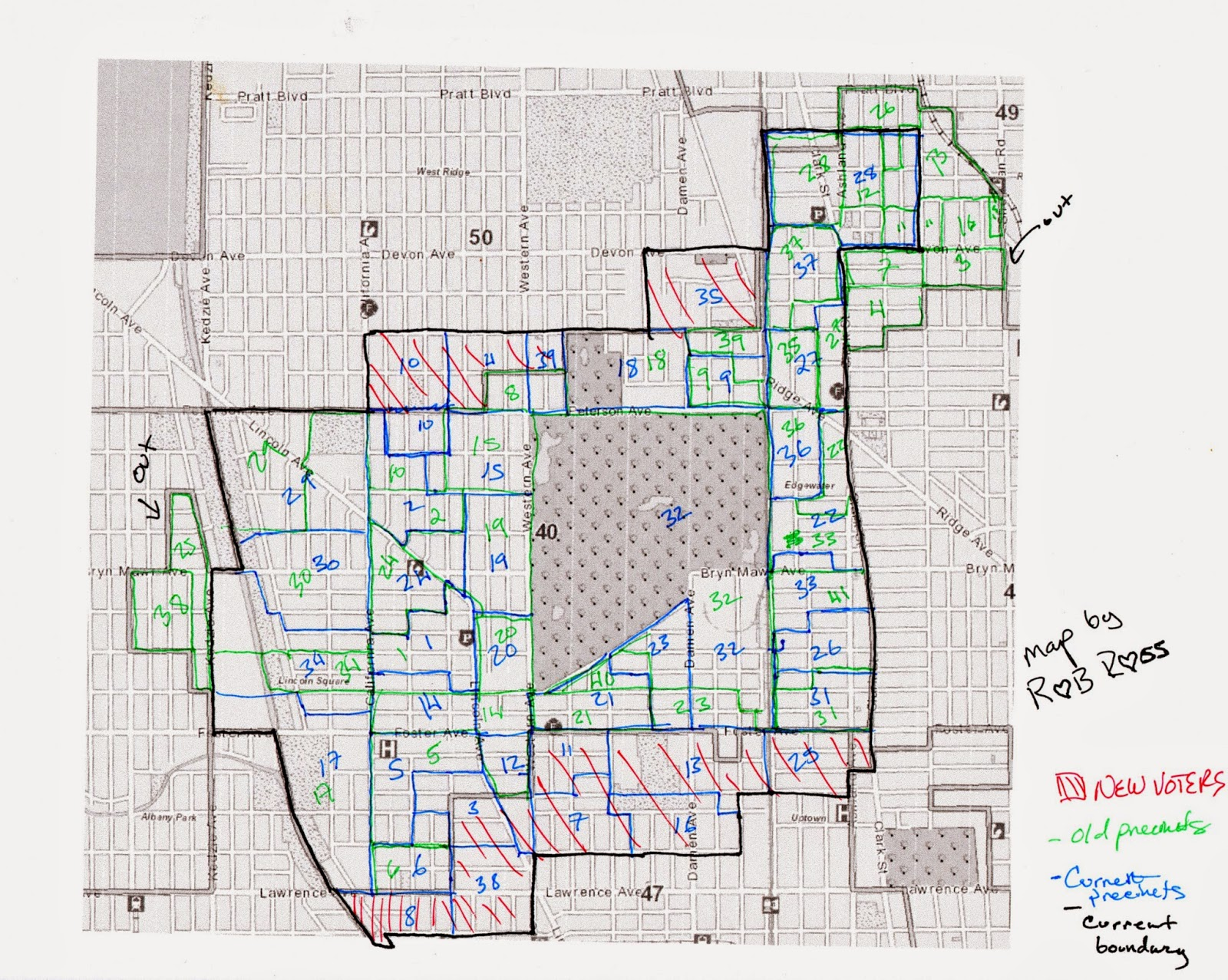 basically i allocated the old precincts to the new ones based on land area i know that s not scientific because voters are not distributed evenly within