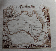 Map of Australia. Couch Man Creations. Fabric32ct Driftwood Belfast