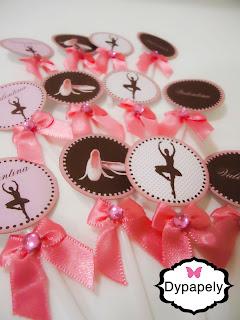 toppers personalizada bailarina poá rosa e marrom