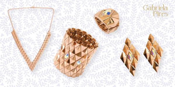 Semi jóias - acessórios - maxi colar - brinco - anel - pulseira -bracelete - ouro rosa - loja Gabriela Pires - bijuterias