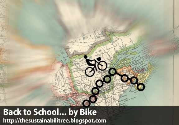 An icon of a cyclists on a map that indicates a route from Ontario to Nova Scotia