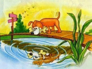 Fabulas infantiles cortas de Esopo el perro y su imagen con valores y enseñanza