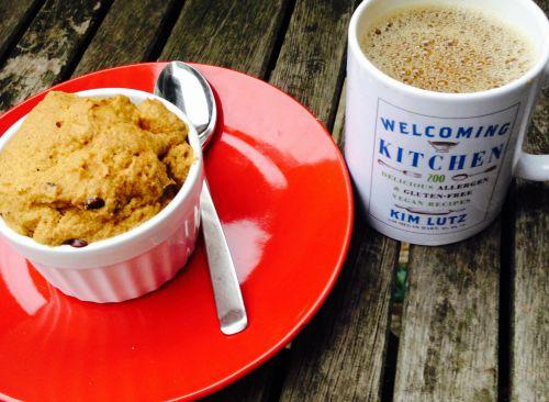Pumpkin Chocolate Chip Mug Cake from Welcoming Kitchen (gluten-free, vegan, food allergy safe)
