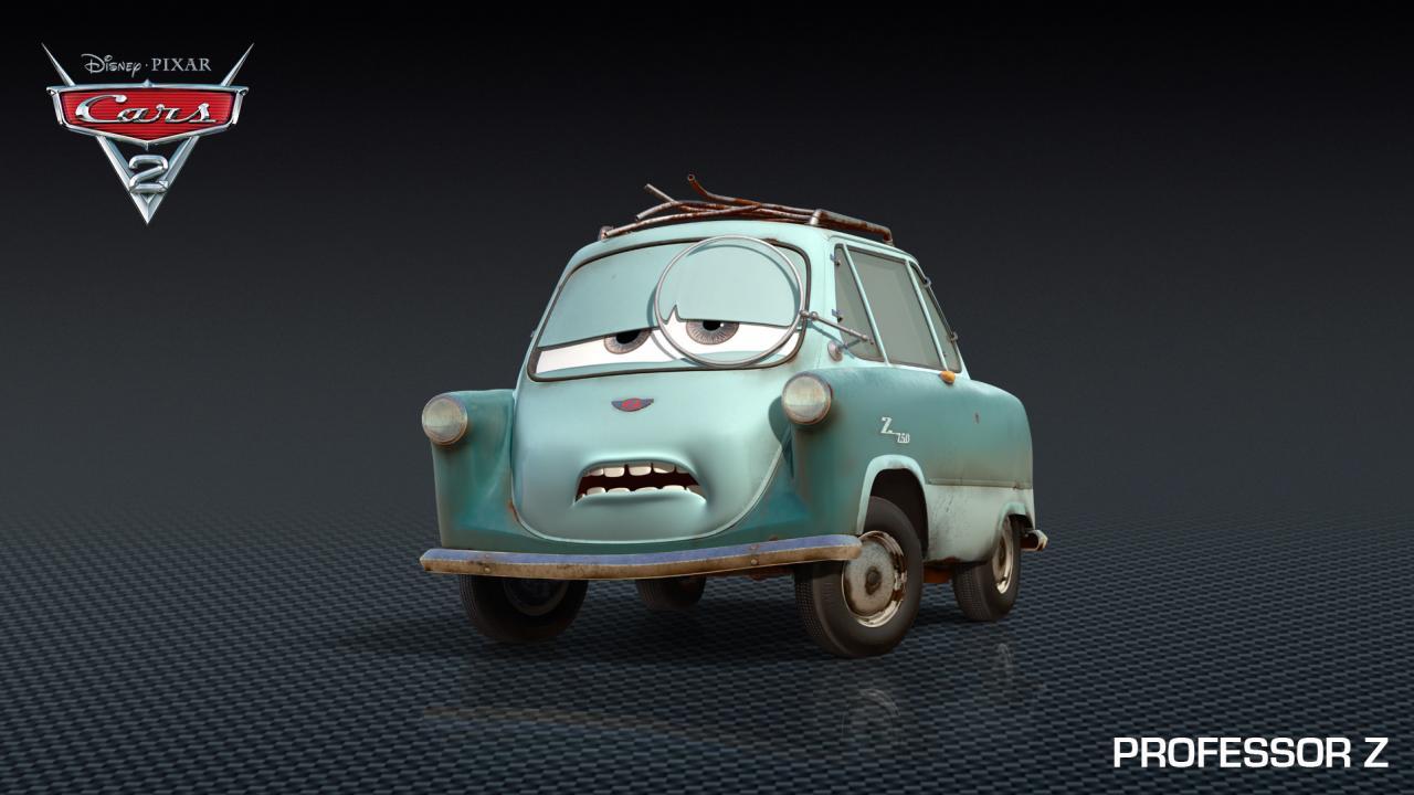 Pixar presenta a professor z y tomber personajes de cars 2