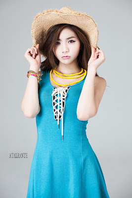 Chae Eun Sexy Korean Model Baby Blue Dress
