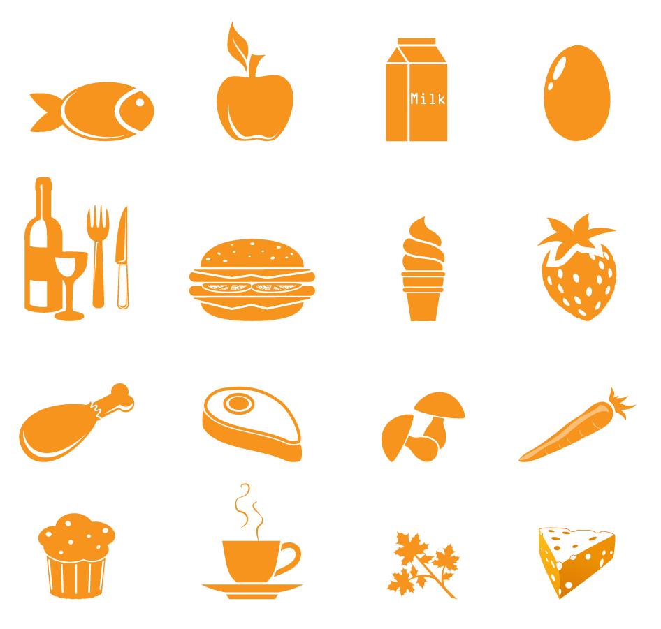 フラットデザインの食品アイコン Food Icons イラスト素材