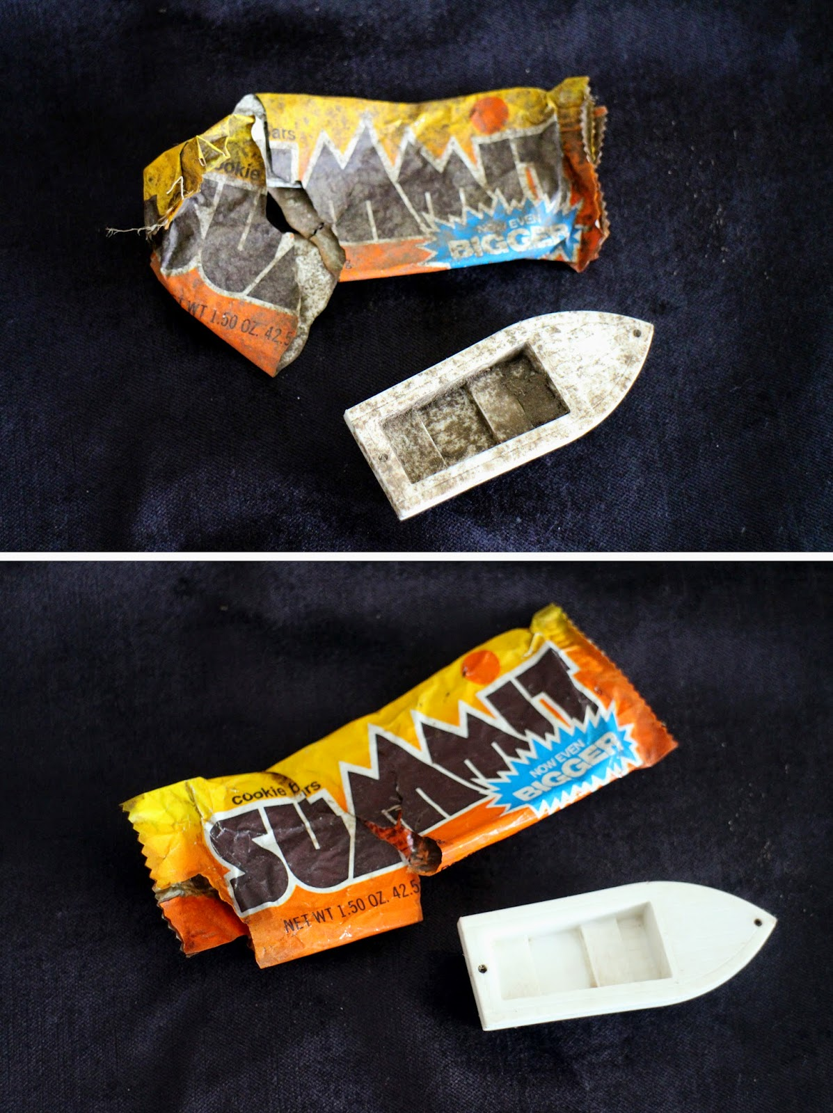 Summit Bar wrapper, orange and yellow, buried plastic candy wrapper after 30 years, found buried toy boat, trash treasure, child's discarded things found years later while digging a hole