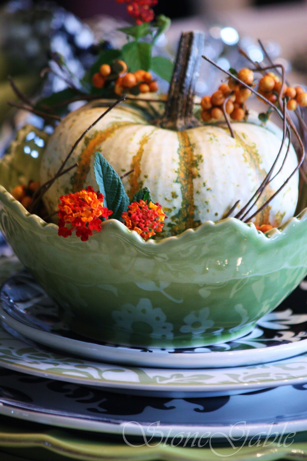 southern style home decor giveaway black and white and a touch of fall tablescape - Home Decor Giveaway