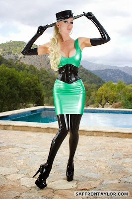Saffron Taylor Latex Lady in Green Latex Dress and Stockings