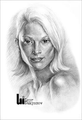 portrait d'une femme blonde par illustrateur et artiste Igor Lukyanov