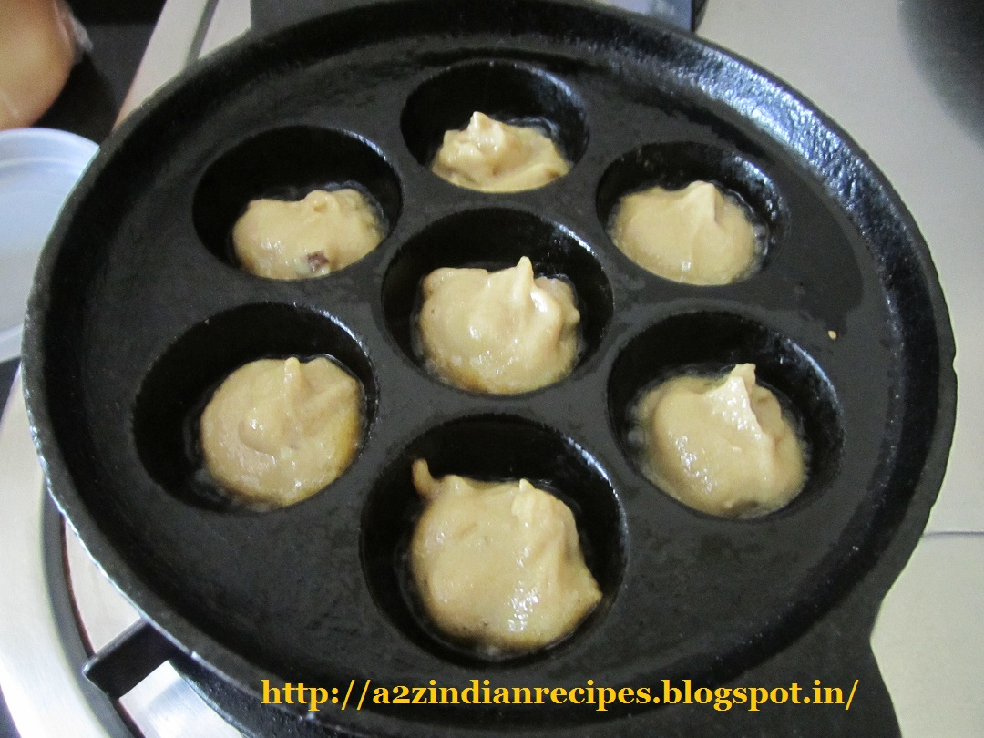 Best marathi recipes sweet appe appam now heat appe patra add ghee then add one spoonful of batter in every mould mould should be half filled let it cook for 2 3 min then flip forumfinder Gallery