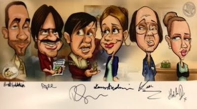 Rich Nairn Derek caricature signed by the cast