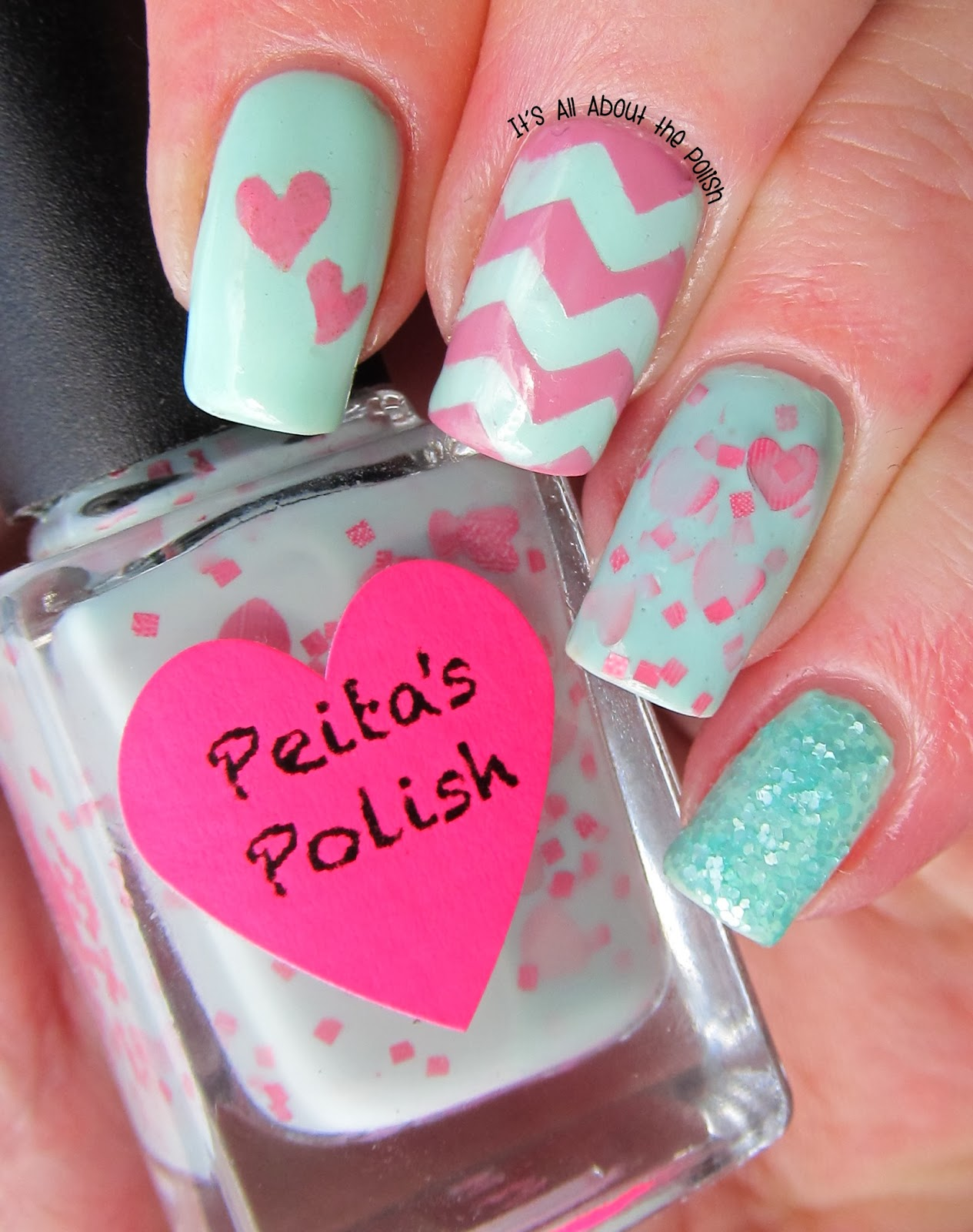 Its All About The Polish Mint Green And Pink Valentines Day Nail