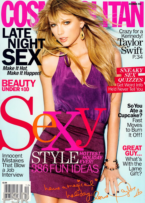 Taylor Swift on the cover of Cosmopolitan magazine December 2012 issue