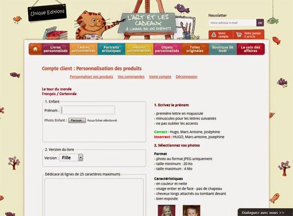 Page de personnalisation - Unique Editions