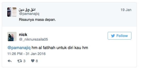 Sebelum maut kemalangan, pelajar ini sempat tweet mengenai perasaannya