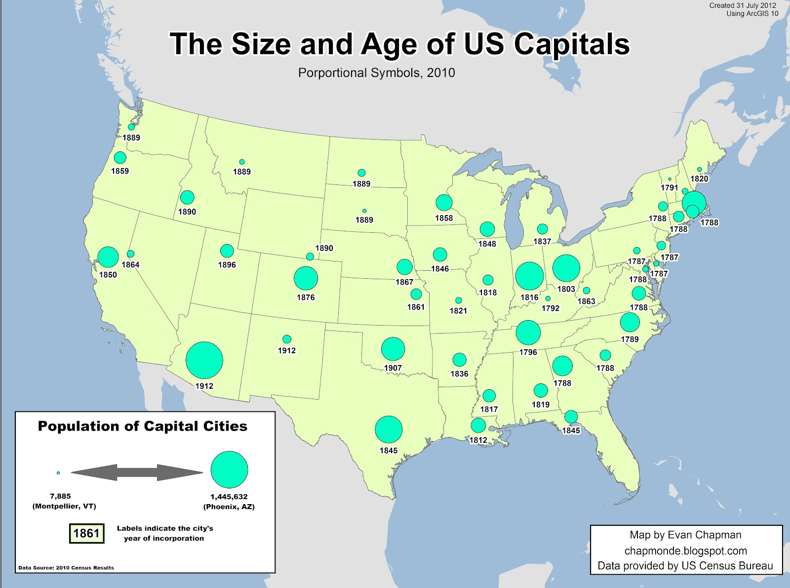 State Capital Visualization Evans Map Blog - Map of us in 1821