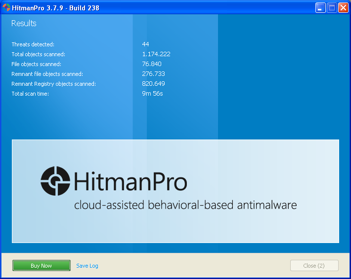 HitmanPro summary results