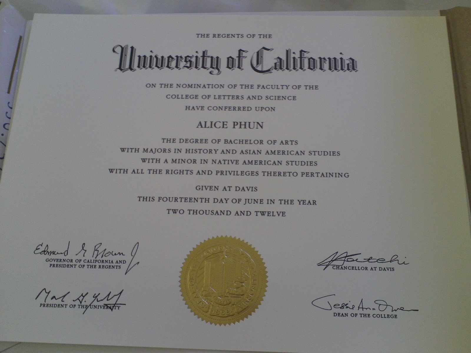 alice phun my diploma it s a confirmation of what i have accomplished academically while i was an undergraduate i can t believe i did a double major and a