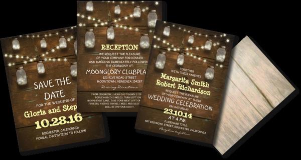 Rustic Mason Jars And Light Wedding Invitation
