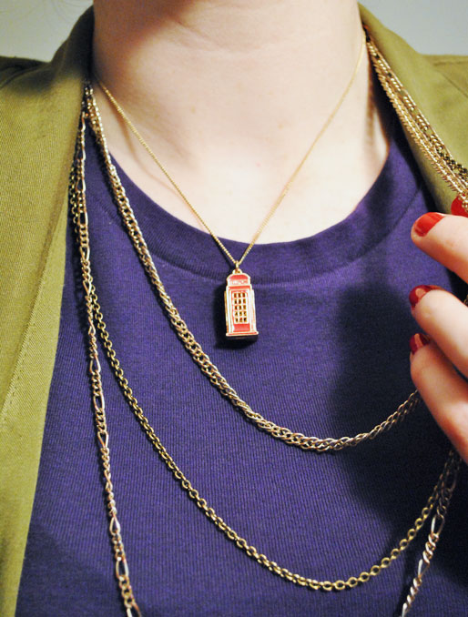 a style of your own blog, mollie booth parks, necklaces, london phone booth necklace