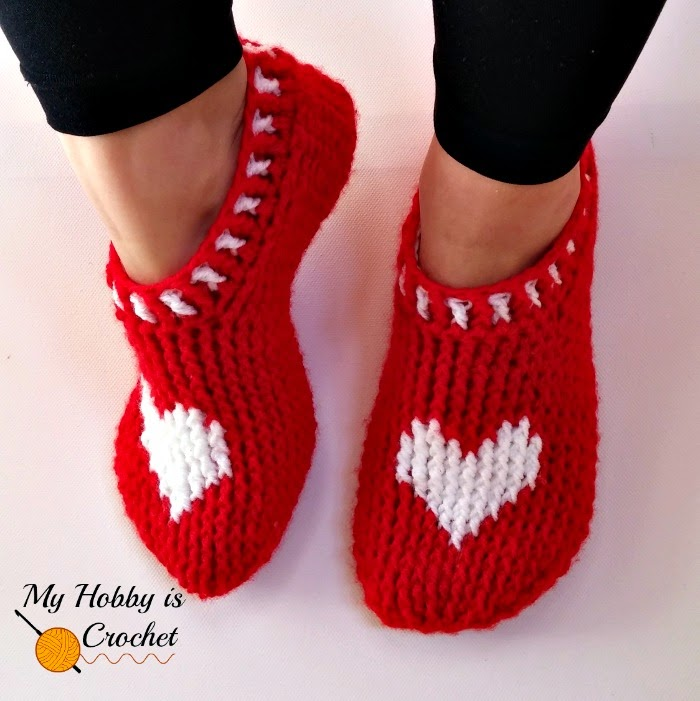 My Hobby Is Crochet Heart Sole Slippers Women Size Free