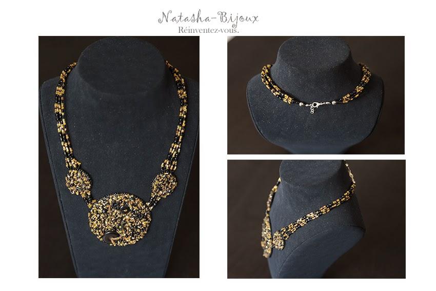 fait-main créatrice collier brodé perles
