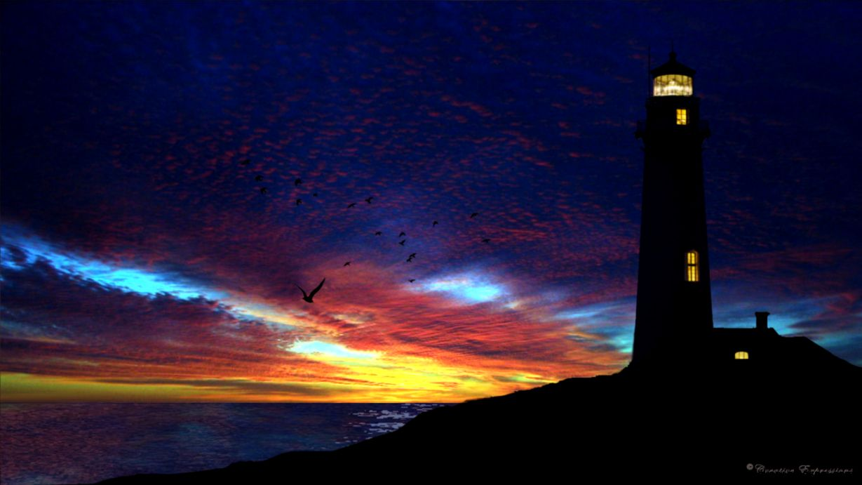 Lighthouse Paintings At Night   wallpaper