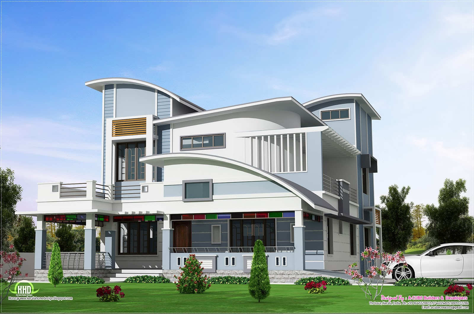 Modern unique style villa design home kerala plans for Contemporary villa plans