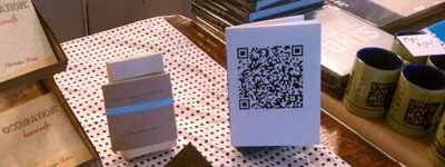 Book of poetry done in hand-letterpressed QR codes.