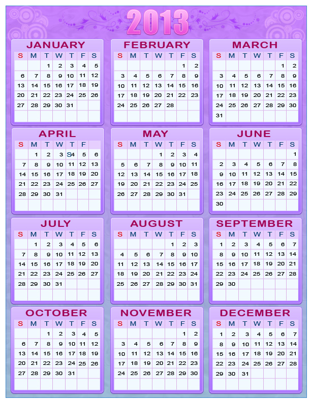 Free Printable 2013 Calendar with Holidays