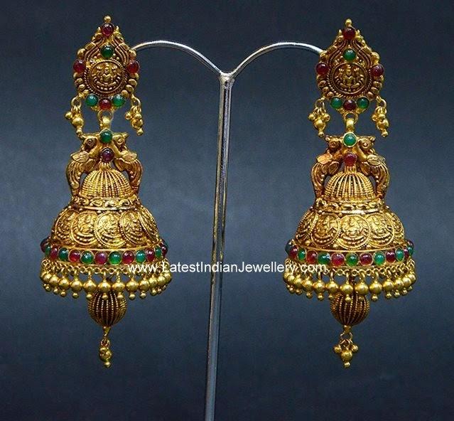 Lakshmi Kasu Design Gold Jhumkas
