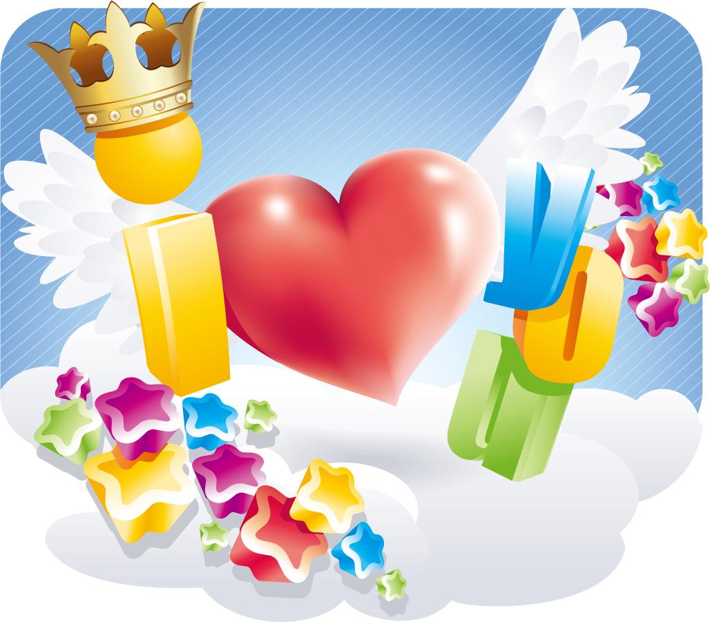 王冠や羽根で豪華に飾ったハート crown love hearts patterns イラスト素材1