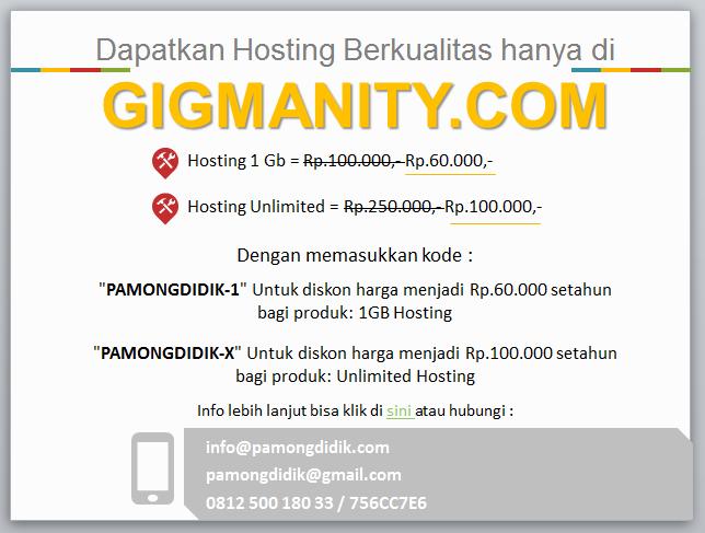 Hosting berkualitas unlimited gigmanity pamong didik