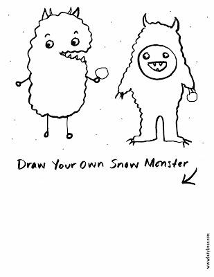 Draw & Color Your Own Snow Monster Free Worksheet