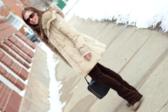 Tan Fur Coat with Brown Corduroy   StyleSidebar