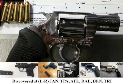 6 loaded pistols.