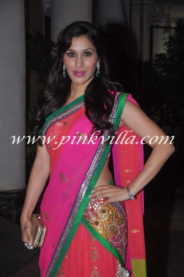 Sophie Choudhary in Pink Sari - Vj Turned Actress Sophie Choudhary at Bappa Lahiri Wedding