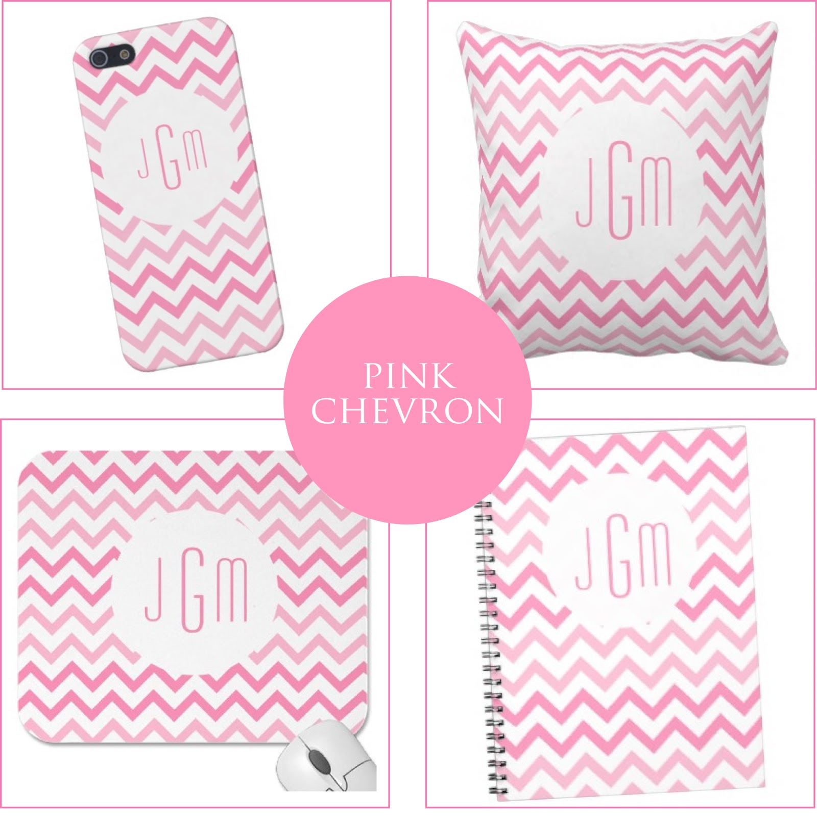 Pink Chevron + Monogram Goodies from Jessica Marie Design