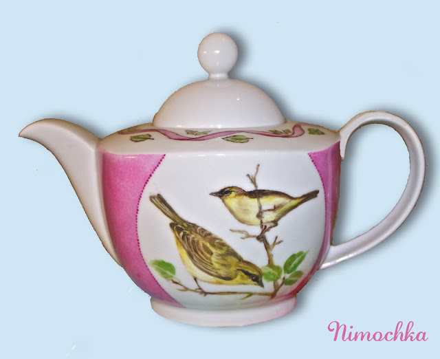 china tea pot, porcelain, hand painted, birds