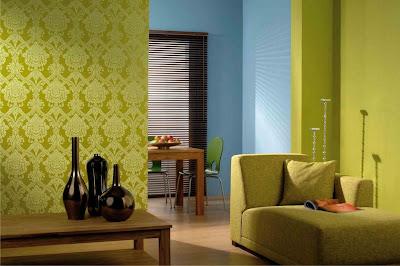 Wallpaper kamar tidur modern hijau