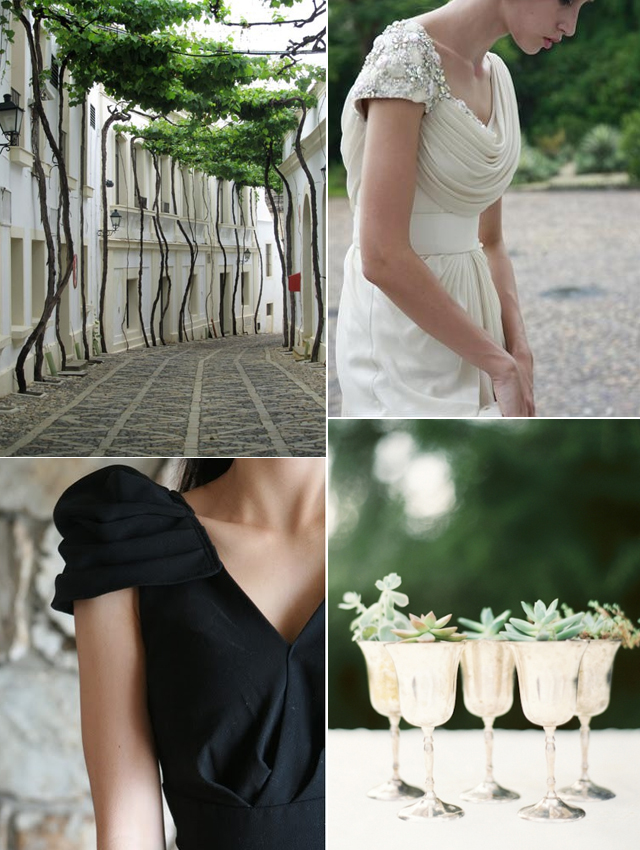 Modern black white and green inspiration board