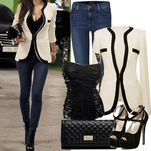 Fabulous Color Splicing Women Blazer Jacket White, Super Hot Deep V-Neck Sleeveless Slim Cami , Stiletto Heel Sandal With Buckle Black