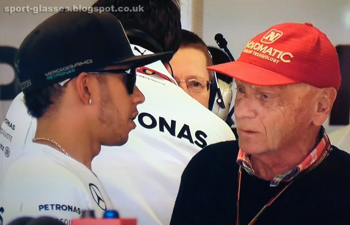 Lewis Hamilton wearing Emporio Armani Sunglasses with Niki Lauda at the 2014 Australian GP
