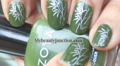 Bamboo nail art with Zoya Shawn polish and China Glaze Devotion stamping